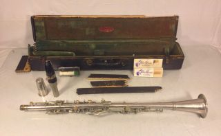 Antique Weymann American Excelsior Silverplate Bb Clarinet Mouthpiece Case Phil photo