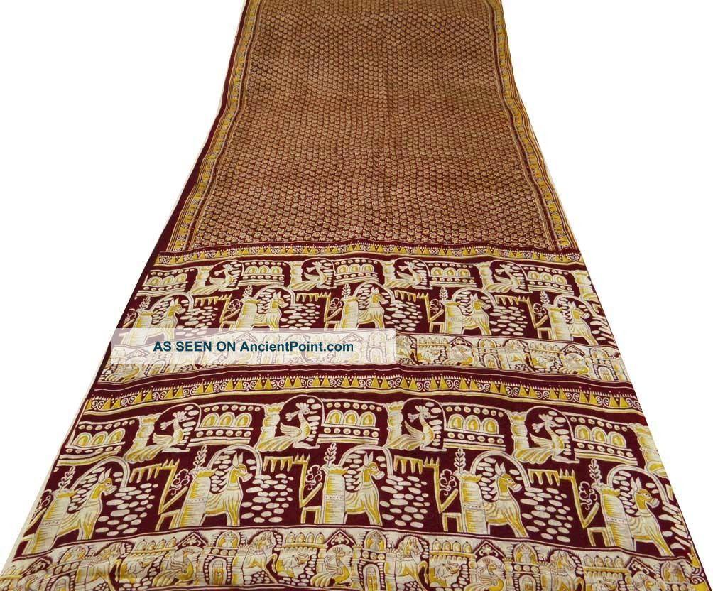 Vintage Saree Pure Silk Printed India Sari Fabric Maroon Deco Craft Art 5yd Other photo