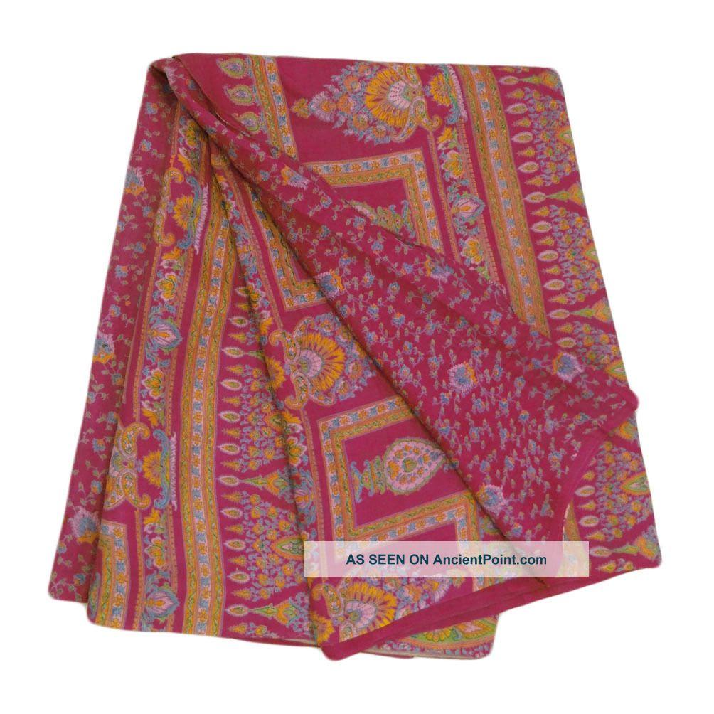 Vintage Saree Silk Blend Floral Printed India Sari Fabric Magenta Craft Art Other photo