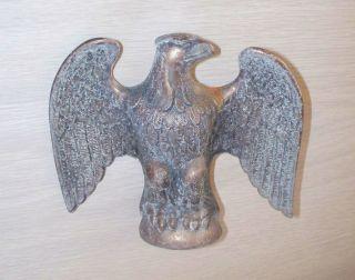 Antique/vtg Eagle Finial Flag Pole Topper Cast Brass Bronze Weathervane Part ? photo