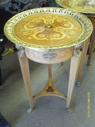 Incredible Opulent Italian Empire Style End Tables With Inlay photo