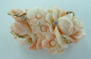 Estate Hand Carved Angel Skin Coral 14ct Yellow Gold Diamond Set Brooch Pentant photo
