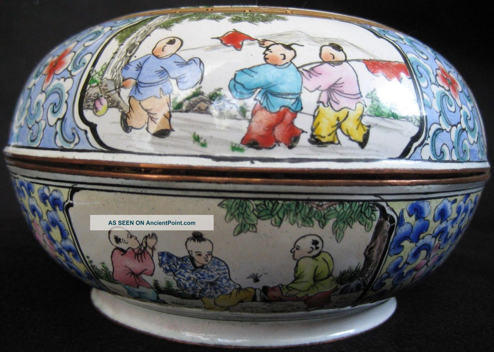 Mid Ch ' Ing Enamel Hand Painted Copper Children Playing Box Boxes photo