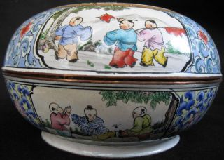 Mid Ch ' Ing Enamel Hand Painted Copper Children Playing Box photo