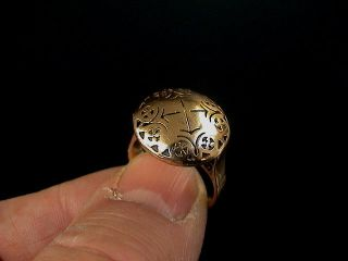 Gorgeous Large Christian Gold Ring Decorated With Cross Symbols,  16th Century Ad. photo