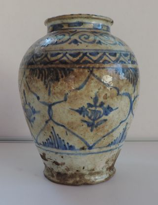 18th Islamic Persian Safavid Blue On White Glazed Vase. photo
