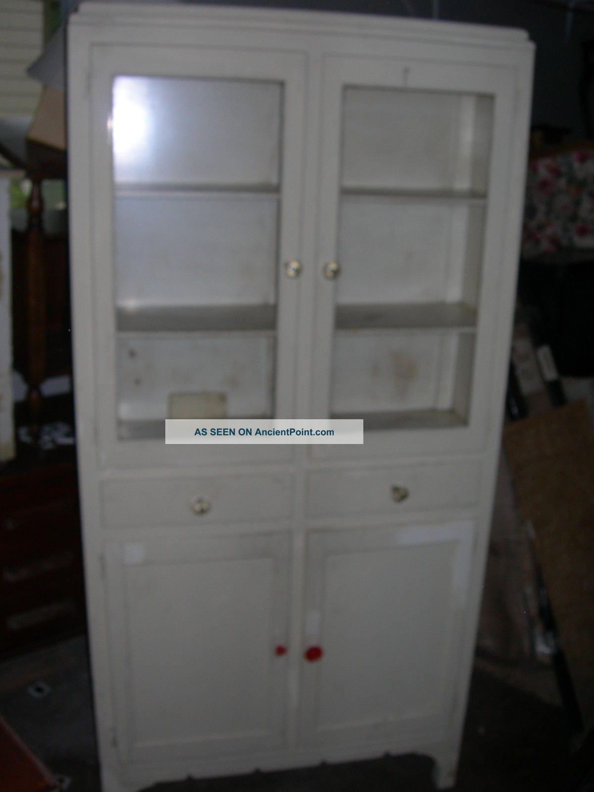 Antique Vintage H J Scheirich White Kitchen Cabinet Pantry