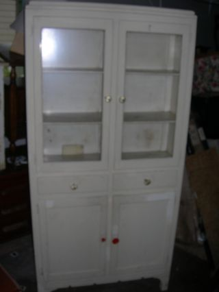 Antique Vintage H J Scheirich White Kitchen Cabinet Pantry photo