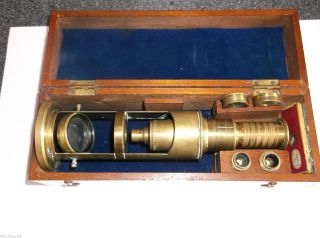 Victorian Brass Field Microscope In Fitted Case With Lenses And Slides photo