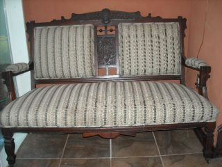 Antique Upholstered Carved Wood Sofa photo