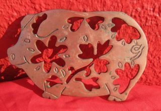 Antique Vintage Brass Hot Plate Pad Trivet Pig Farm Animal 8.  5