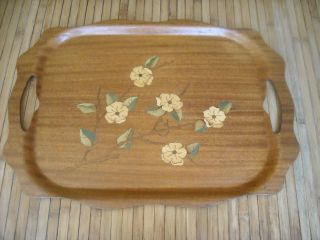 Large Vintage Overton Bentwood Walnut Inlay Serving Tray Mcm Antique Rare Htf photo