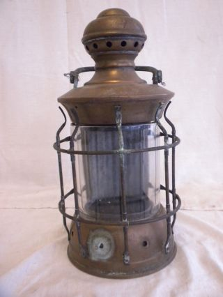Antique Marine Nautical Ship ' S Masthead Brass Oil Light/lamp,  Rare Unusual Style photo