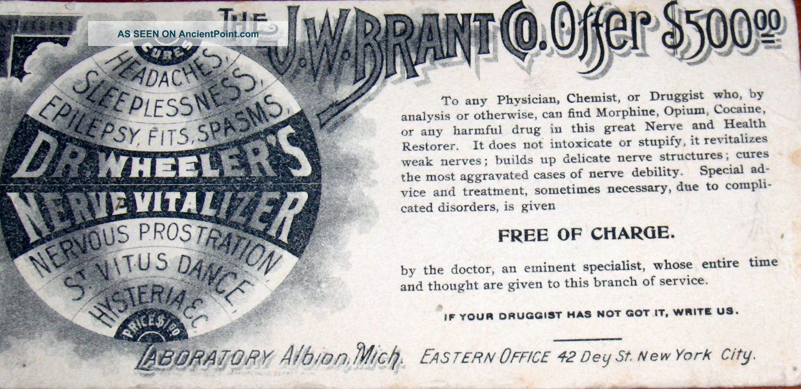 Antique J.  W.  Brant Co Offer Dr.  Wheelers Nerve Vitalizer Fraude Scam Reward $500 Other photo