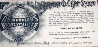 Antique J.  W.  Brant Co Offer Dr.  Wheelers Nerve Vitalizer Fraude Scam Reward $500 photo