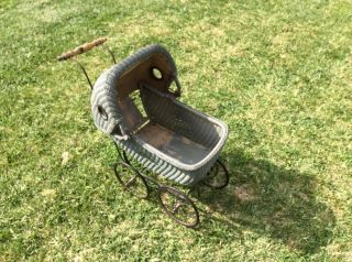 Vintage Antique Wicker Baby Doll Carriage - Buggy photo
