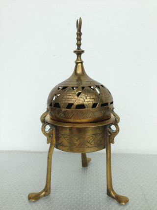 Egyptian Revival Islamic Brass Incense Burner Ottoman Cairoware photo