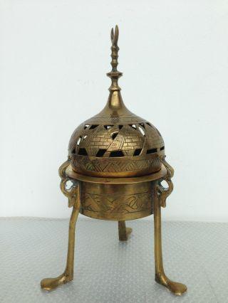 Egyptian Revival Islamic Brass Incense Burner Ottoman Cairoware photo