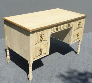 Vintage Mid - Century Modern Cream & Gold Gilt Five Drawer Writing Desk Computer photo