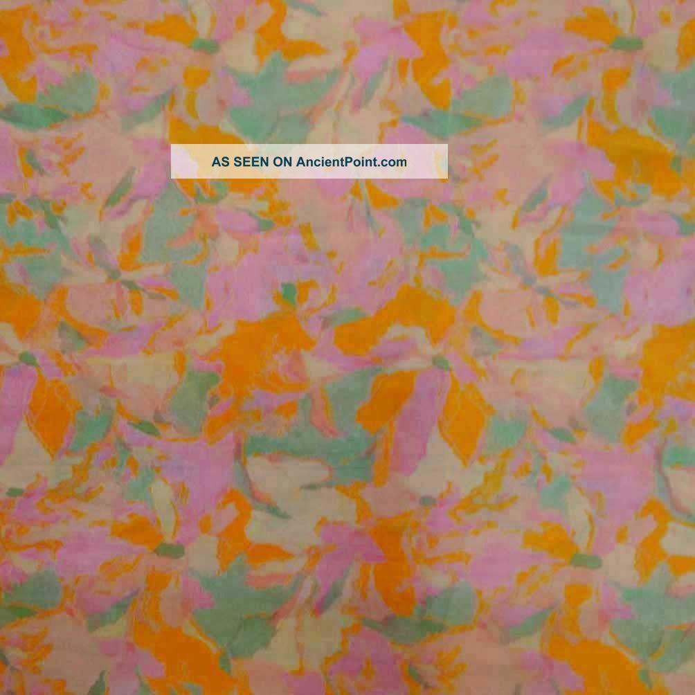 Vintage Saree Art Silk Printed India Sari Fabric Orange Craft Art Decor Antique Other photo