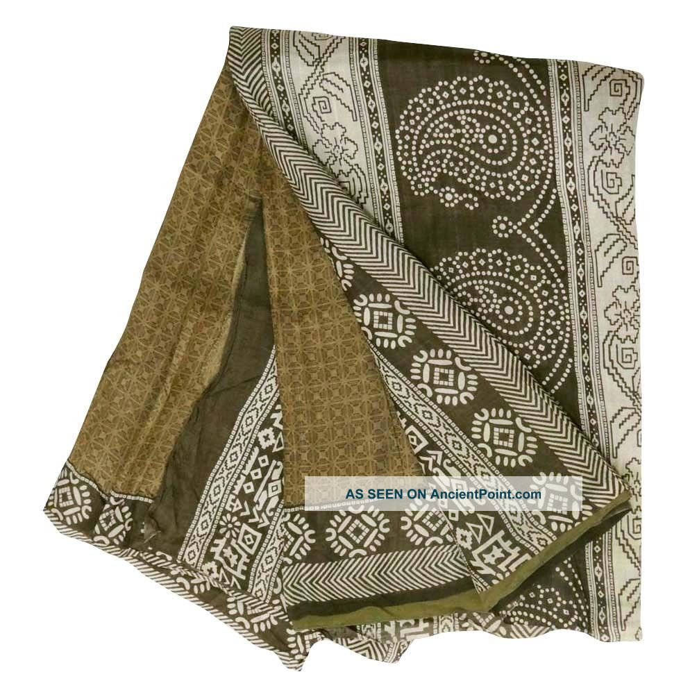 Vintage Saree Art Silk Printed India Sari Fabric Green Wrap Decor Antique Dress Other photo