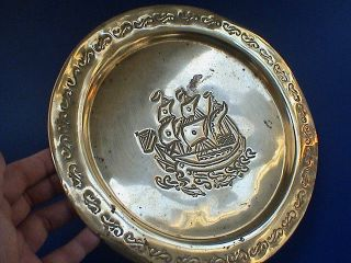 Art Deco Brass Wall Plaque Depicting A Galleon,  Ca.  1920 Ad. photo
