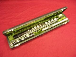 Antique C.  A.  Wunderlich Wooden Flute Silver Keys & Headpiece Orig.  Case photo