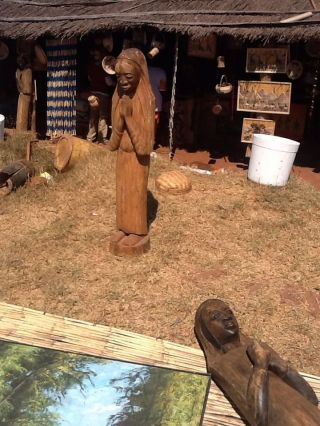 Authentic Virgin Mary Handcarved Statue Large Drc photo