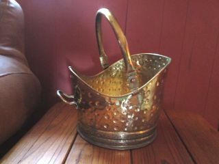 Very Old Brass/copper Coal/ash Pail Made In England/maker ' S Mark; photo