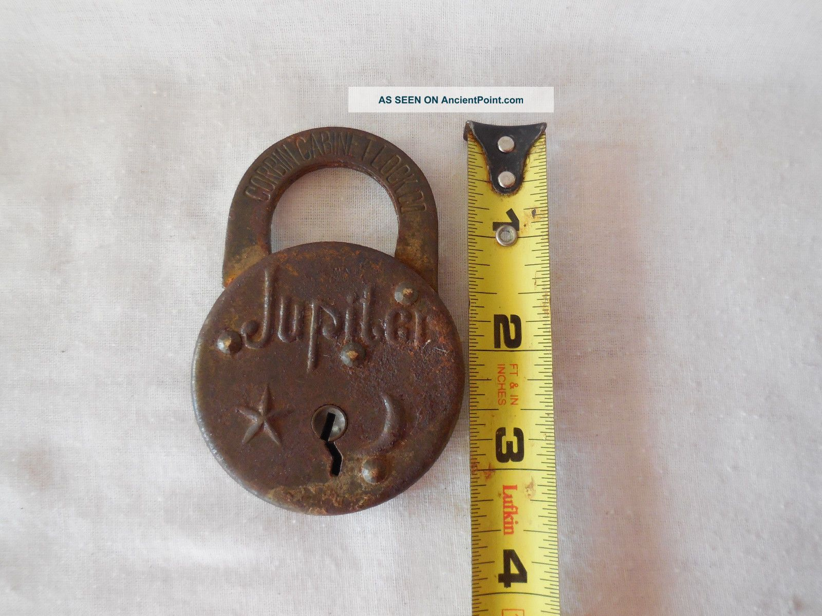 Primitive Antique Vintage Padlock Lock Oak Leaf Belmont Jupiter Miloco