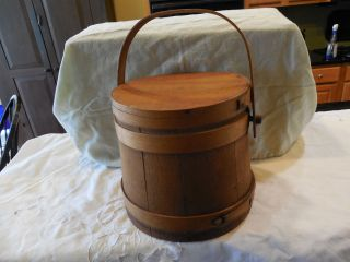 Antique Late Wooden 19th Century Firkin/sugar Bucket photo