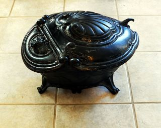 Large Antique Cast Iron Ebony Black Coal Hod Scuttle From France 31 Pounds photo