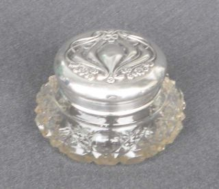 1900 Horton & Allday Birmingham Sterling Crystal Vanity Perfume Jar Art Nouveau photo