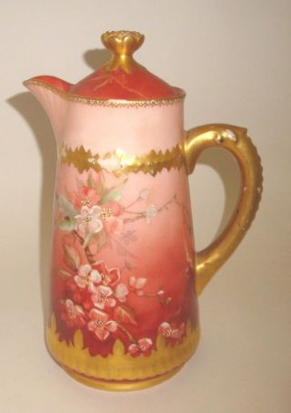 Beatiful,  Antique Porcelain Chocolate Pot,  With Hand Painted Decoration photo