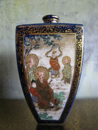 Antique Japanese Meiji Period 19th Cent.  Signed Satsuma Vase W Figure Decoration photo