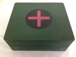 Fab Vintage Wooden First Aid Medicine Cabinet / Box / Chest With Green Covering photo