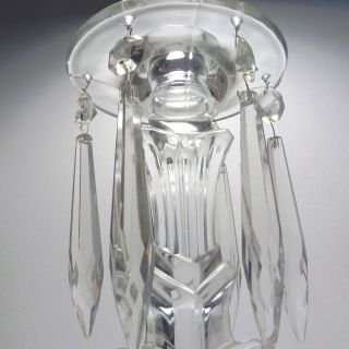 Antique Clear Glass Mantle Candle Luster / Candle Holder photo