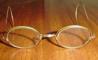 Antique,  1800 ' S Wire Rimmed Prescription Glasses Frames Hallmarked Silver Ec photo