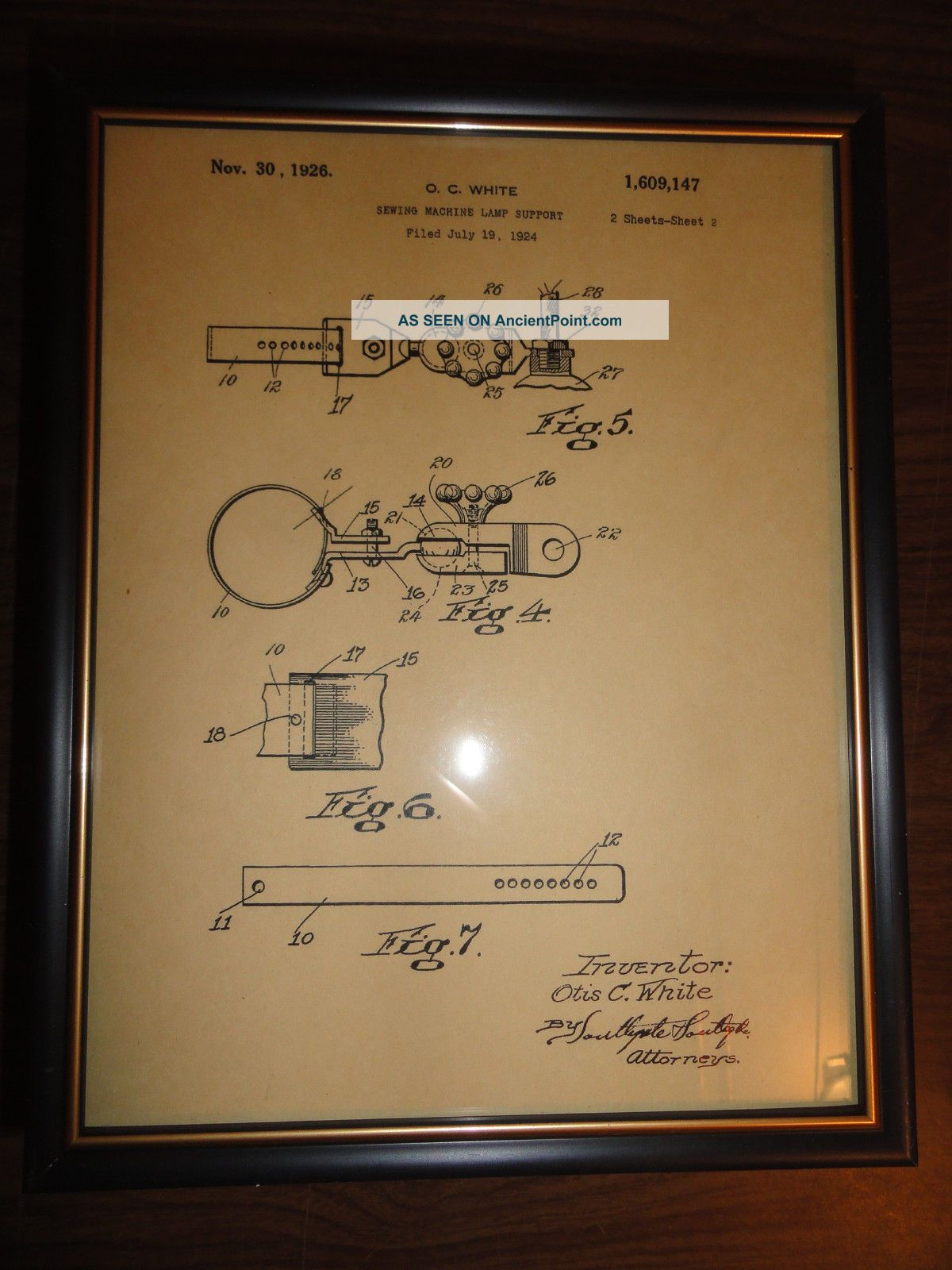 Oc White 1876 Patent Picture Adjustable Sewing Machine Lamp Light No.  1609147 Other photo