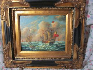 Antique English Warships Oil Painting W/original Frame Artist Signed 1872 Nr photo