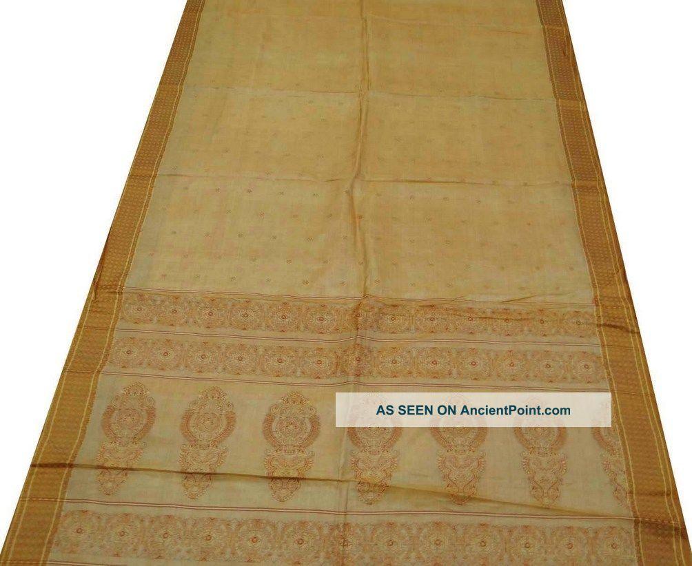 Vintage Indian Saree Art Silk Fabric Weaving Work Beige Sari Craft Curtain 5yard Other photo