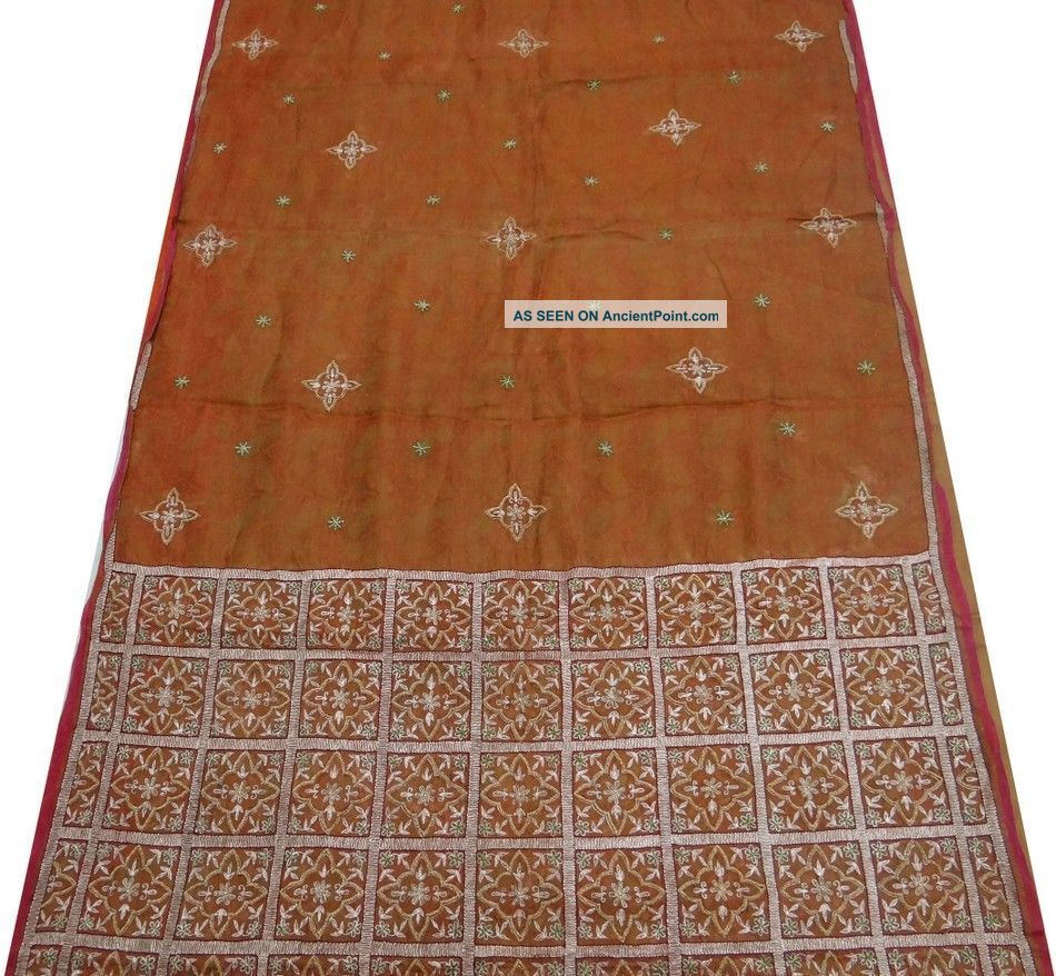 Vintage Saree Tissue Organza Embroidered India Sari Fabric Brown Craft Deco 5yd Other photo