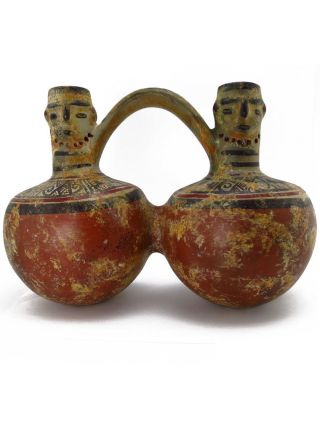 Across The Puddle Pre - Columbian Pottery Double Water Jar Reproduction photo