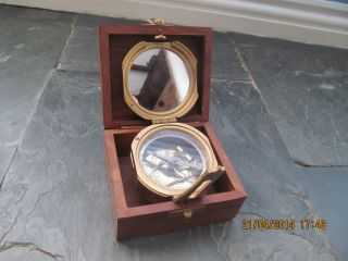 Antique Style Natural Sine By Stanley Of London Nautical Brass Compass photo