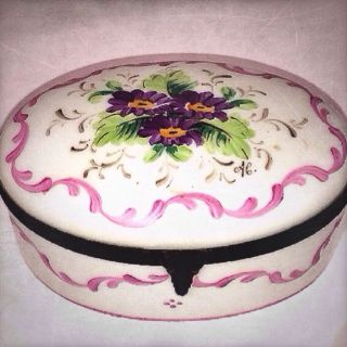 19c Sevres Signed Limoges Peint Mein Handpainted Porcelain Hinged Trinket Box photo