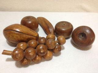 Vintage Monkey Pod Wood Fruit Set 6 Hand Carved Fruits photo