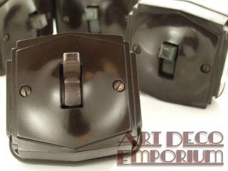 Tenby Pilot Art Deco Vintage Bakelite Light Switch Surface Mount 1way photo