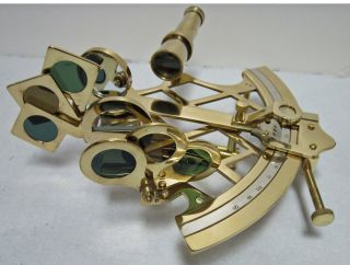 Slow/fast Motion 8in Working Polished Brass Sextant photo