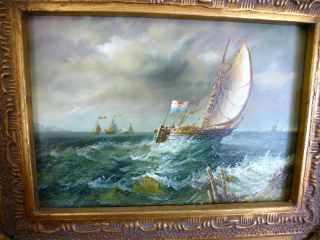 Small Antique Seascape Oil Painting On Wood Gilded Ornate Frame photo