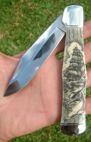 Scrimshaw Art By Shar,  Ship,  Dolphins,  Large Folding Knife/knives photo